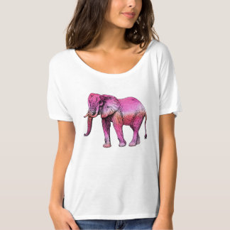 Pink Elephant Watercolor Trendy Modern T-Shirt