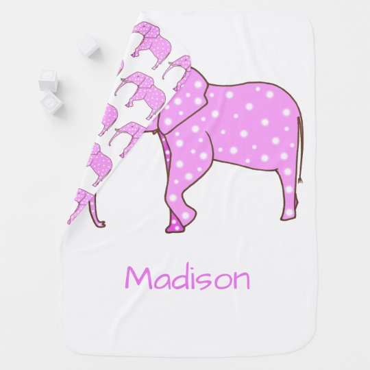 Pink Elephant White Dots Personalized Baby Blanket