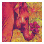 pink elephant with hibiscus poster