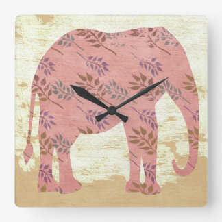 Pink Elephant with Leaves Square Wall Clock