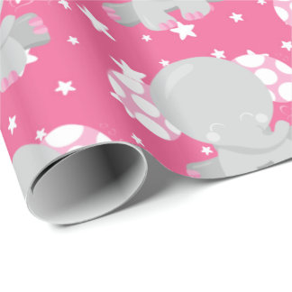 Pink elephants and stars party wrap wrapping paper