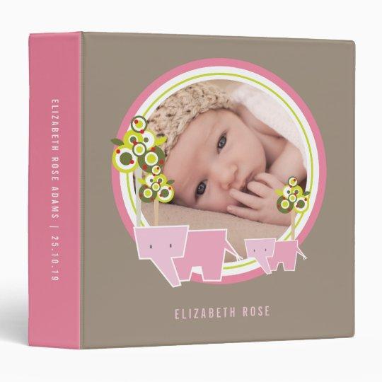 Pink Elephants Family Baby Girl Photo Album Binder