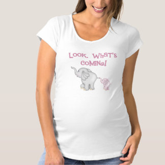 Pink Elephants Look What's Coming Maternity T-Shirt