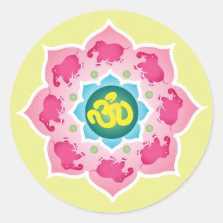Pink elephants Lotus Flower om yoga buddhism Classic Round Sticker