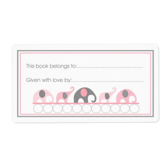 Pink Elephants Parade Bookplate Fill-in style Shipping Label