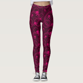 Pink Emo Pattern With Circles Leggings