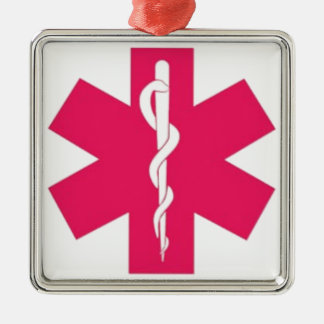 Pink EMT Silver-Colored Square Ornament