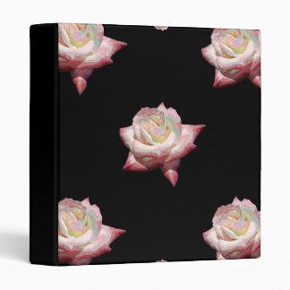 Pink Enameled Roses on Black Binder