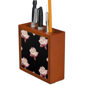 Pink Enameled Roses on Black Desk Organizer