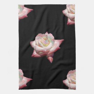 Pink Enameled Roses on Black Kitchen Towel