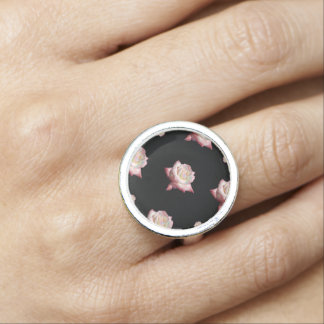 Pink Enameled Roses on Black Ring