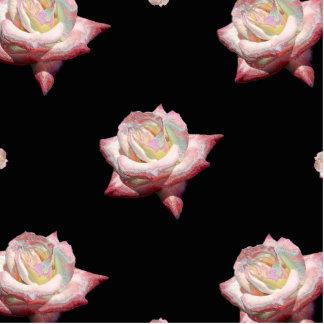 Pink Enameled Roses on Black Standing Photo Sculpture