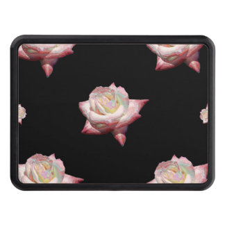 Pink Enameled Roses on Black Trailer Hitch Cover