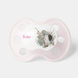 Pink English Bull Terrier 'Custom Name' Pacifier
