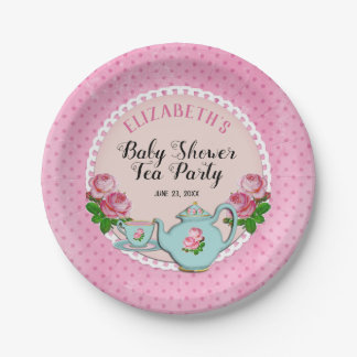 Pink English Cottage Style Baby Tea Party Shower Paper Plate
