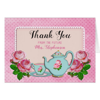 Pink English Cottage Style Bridal Shower Thank You Card