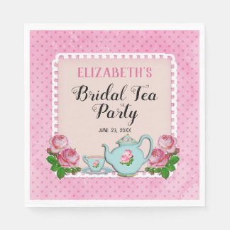Pink English Cottage Style Bridal Tea Party Shower Paper Napkin