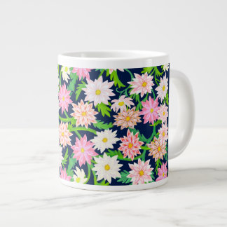 Pink English Garden Flowers Jumbo Mug