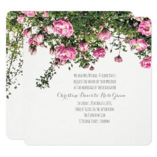 Pink English roses, floral wedding invitation