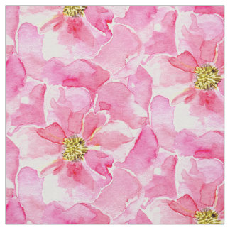 Pink English Roses Pattern Fabric