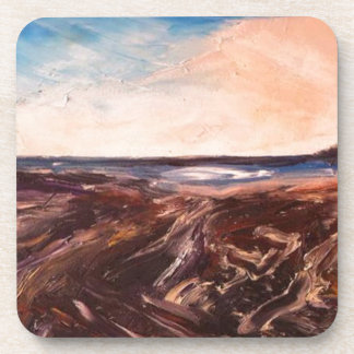 Pink English Seaside Northumbrian Sunset Oil Paint Drink Coasters