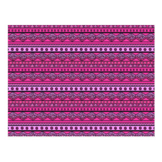 Pink ethnic pattern postcard