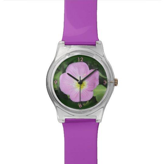 Pink evening primrose flower watch