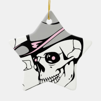 pink eye skull ceramic ornament