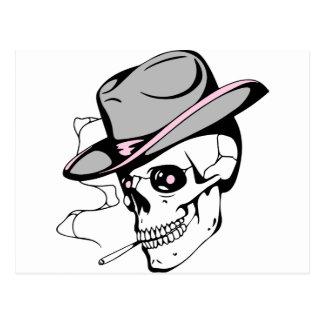 pink eye skull postcard