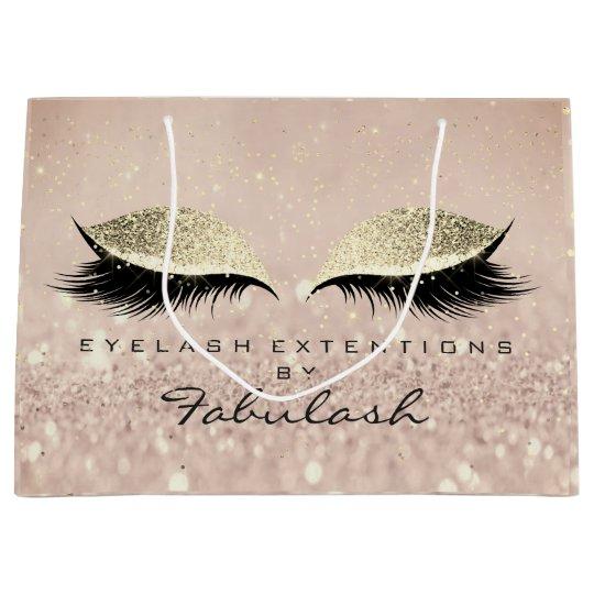 Pink Eyes Lashes Blush Makeup Artist Glitter Gold Large Gift Bag