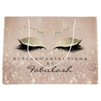 Pink Eyes Lashes Blush Makeup Glitter Skinny Gold Large Gift Bag