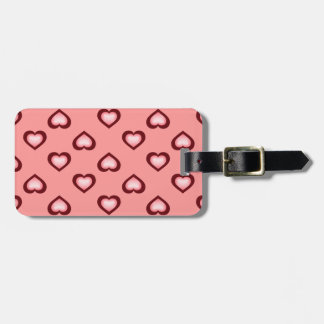 Pink fade crimson hearts pattern luggage tag
