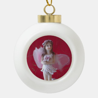 Pink Fairy  Round White Oranment Ceramic Ball Christmas Ornament