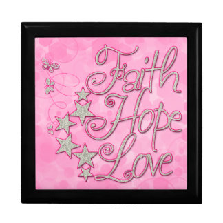Pink Faith Hope Love Butterflies Stars Virtues Keepsake Boxes