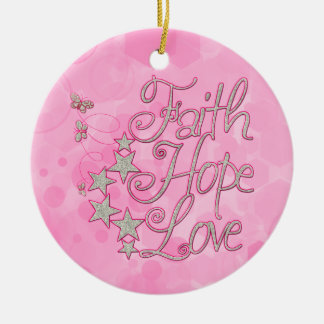 Pink Faith Hope Love Butterflies Stars Virtues Round Ceramic Ornament