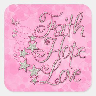 Pink Faith Hope Love Butterflies Stars Virtues Square Sticker