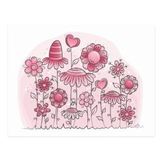 Pink Fantasy Flower field Postcard