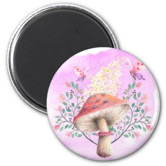 Pink Fantasy Garden Print 2 Inch Round Magnet