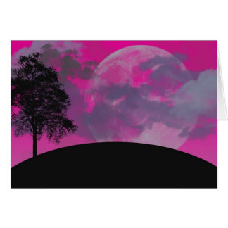 Pink fantasy moon, clouds tree blank card