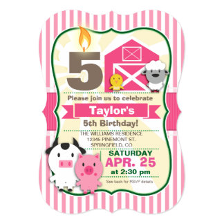 "Pink Farm Animal, Girl's Birthday Party 5"" X 7"" Invitation Card"