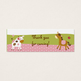 Pink Farm Animal Party Favor Gift Tags