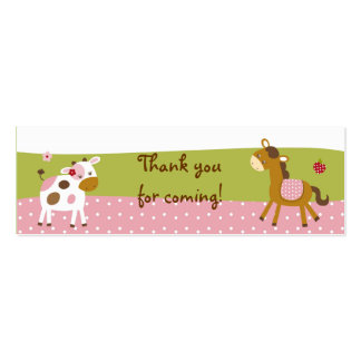 Pink Farm Animal Party Favor Gift Tags Mini Business Card