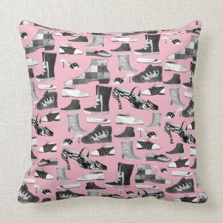 Pink Fashion Funny Shoes Retro Cartoon Unique Chic Throw Pillow