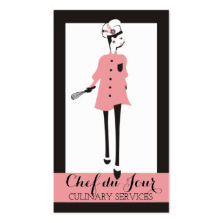 Pink fashion model chic chef woman business card