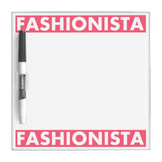 Pink Fashionista Bold Text Cutout Dry Erase Board