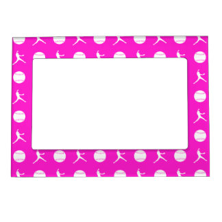 Pink Fastpitch Pattern Magnetic Picture Frame
