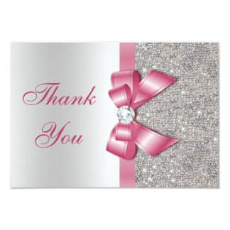 Pink Faux Bow & Diamonds Thank You Card