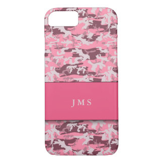 Pink Faux-Camouflage with Monogram iPhone 7 Case