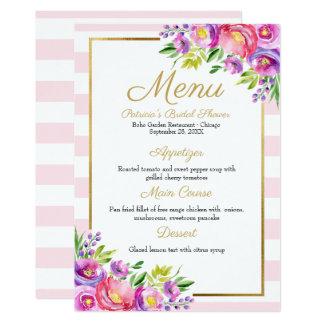 Pink & Faux Foil Gold Floral Bridal Shower Menu Card