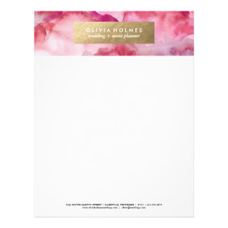 Pink Faux Foil Watercolor Letterhead